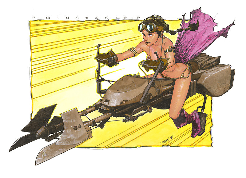 Princess Leia in her slave outfit ridding a speeder bike by Travis Charest