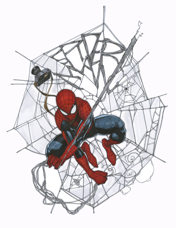 Spider-man with an awesome web sketch by Travis Charest