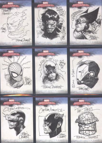 Marvel head shots sketches by Travis Charest