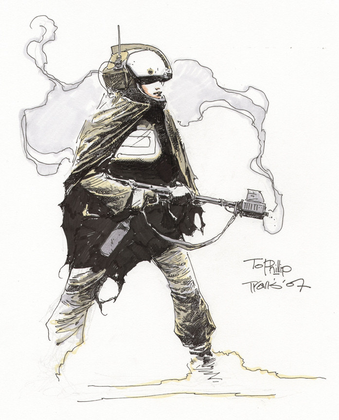 Spacegirl with a gun sketch by Travis Charest