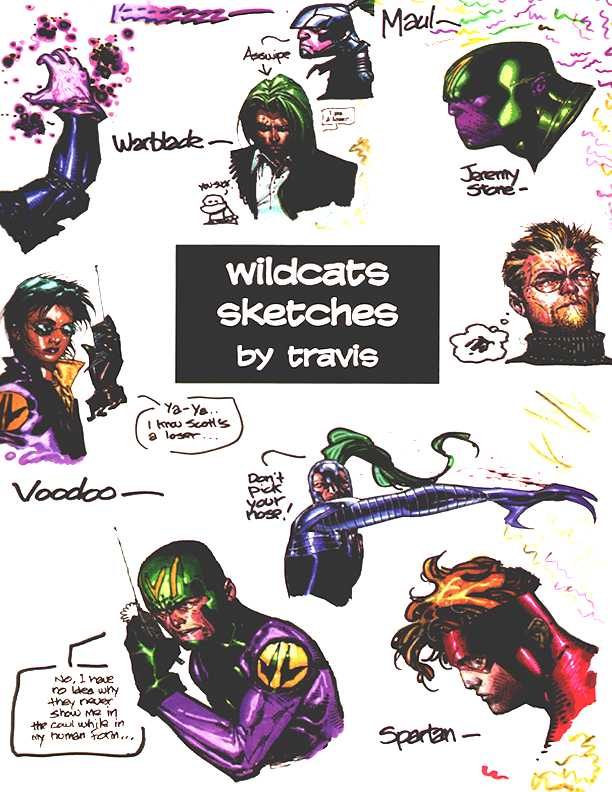 Wildcats Volume 1 Issue 50 page 35-Travis Sketches